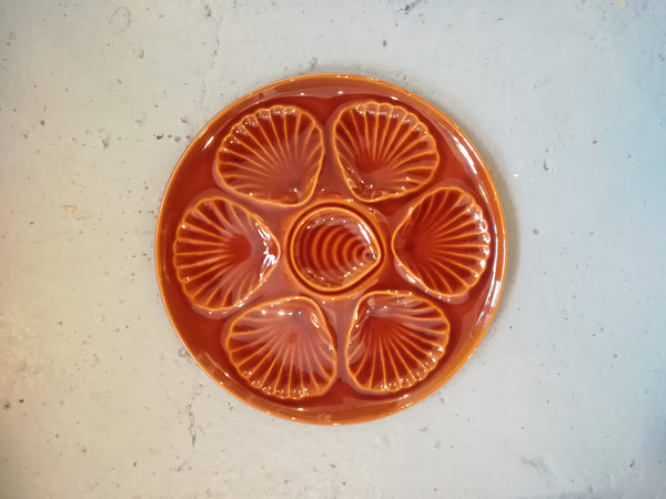 Brown glazed vintage oyster plates - holds half a dozen oysters
