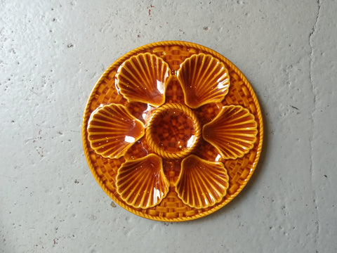 Vintage 1950's/60s  French majolica  'Longchamps' oyster plate