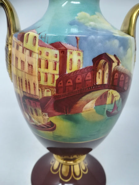 Limited edition handpainted porcelain Caverswall baluster vase with cover by R A Shufflebotham