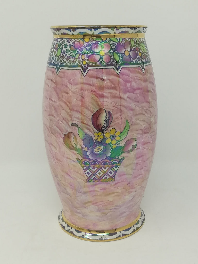 Newhall Boumier ware pink lustre art deco vase