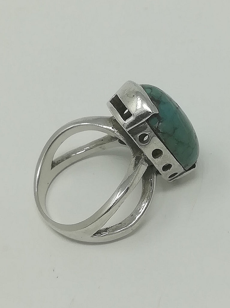 Raw turquoise and silver ring (preloved)