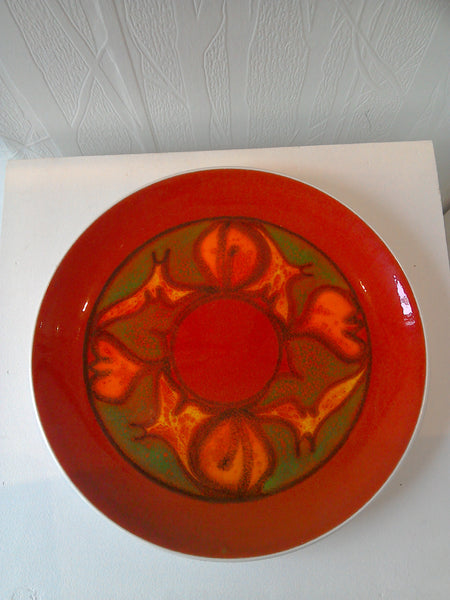 Red/ orange  vintage Poole pottery Delphis charger.