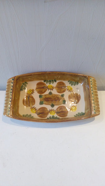 Unusual Quimper rectangular dish, marked 'Gres' - vintage