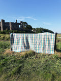 Vintage Welsh, double sized, blanket in slate with jade, pink, cream and gold plaid.