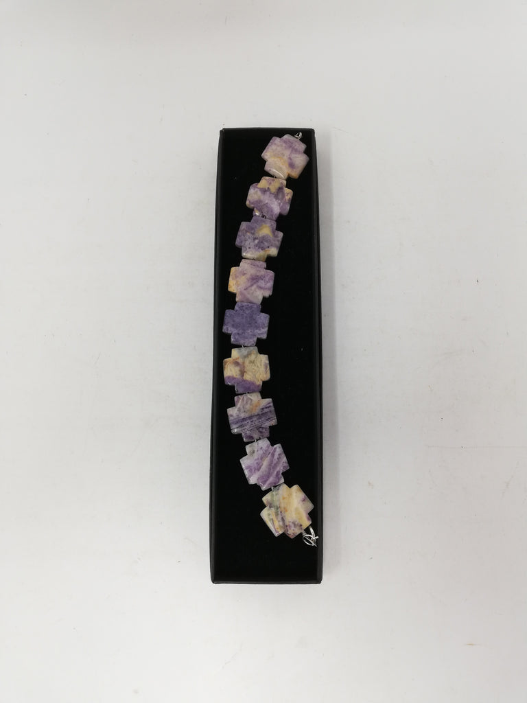 Charoite bracelet with crosses. Free UK P&P