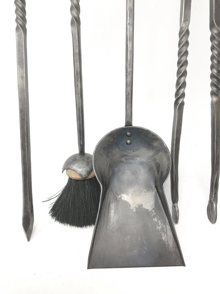 Rams head fire set, full set of four tools & stand - hand forged in mild steel