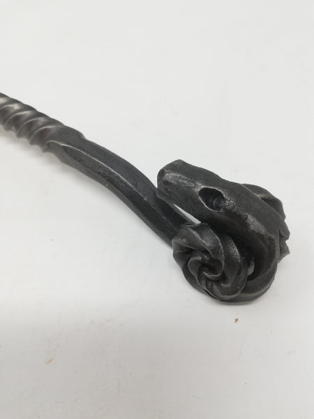 Toasting fork - heavyweight, rams head handle - hand forged in mild steel.