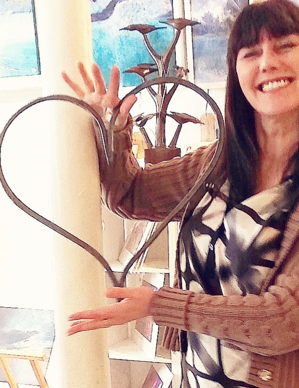 Extra large handforged hanging heart