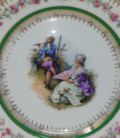 Carl Tielsch/Altwasser Royal Vienna style plates - courting couple. Flute design.