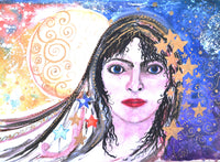 Card (A5)  Women of the Mabinogion 'Arianrhod'.  An original  design by Trudi Petersen
