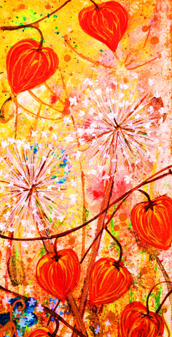 chinese lanterns - original design A5 card by Trudi Petersen