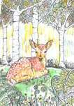 Card (A5) 'Faun & Ferns' an original design card by Trudi Petersen
