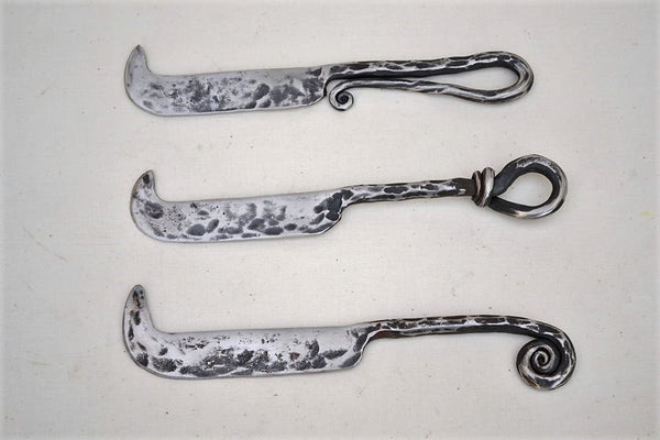 hand forged stainless steel cheese knives with a choice of handles 18.5cm long approx