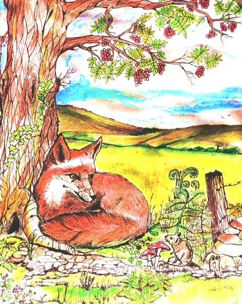 Card (A5), 'The Fox and the Mouse'; an original design card by Trudi Petersen