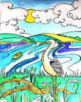 Card (A5), The Heron, an original design card by Trudi Petersen