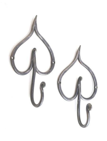 hand forged leaf hooks in mild steel by Aaron Petersen