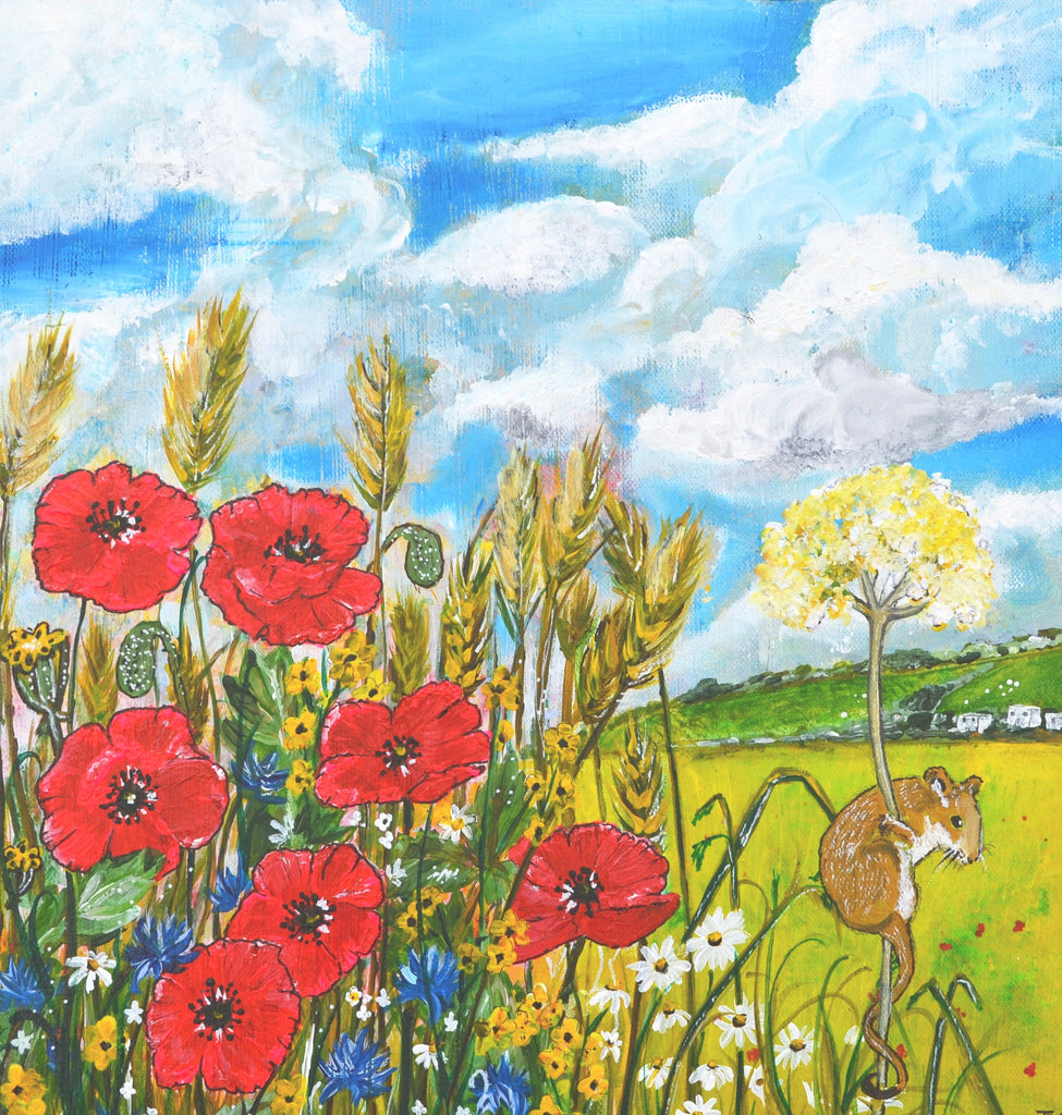 Card (A5), 'Poppyfield Mouse', an original design card by Trudi Petersen