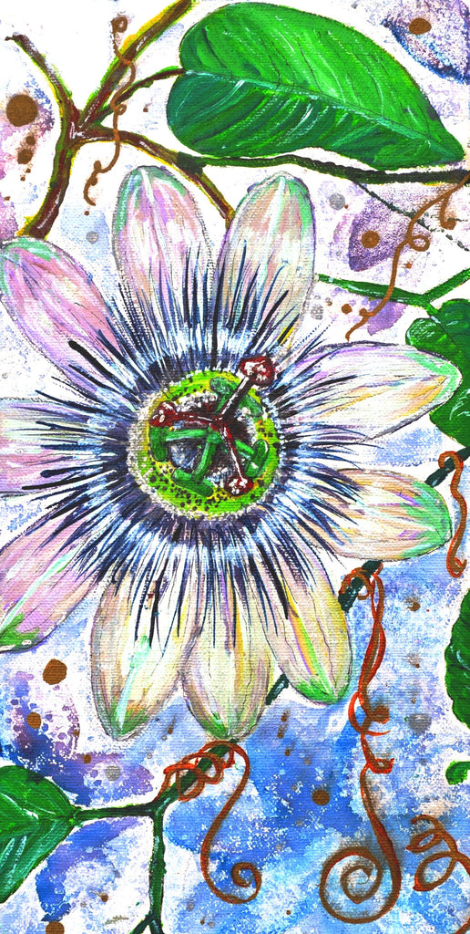 Card (A5), 'Passion Flower', an original design card by Trudi Petersen