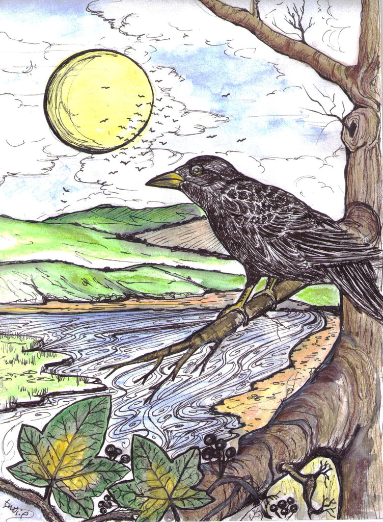 Card (A5), 'Corvus' , an original design card by Trudi Petersen