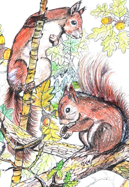 Card (A5), 'The Nut Thief', an original design card by Trudi Petersen