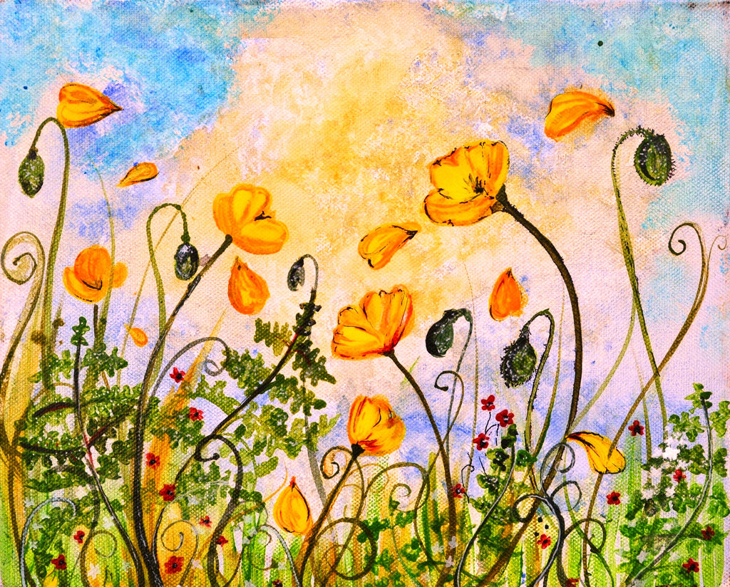 Card (A5), 'Welsh Poppies in the Breeze', an original design card by Trudi Petersen