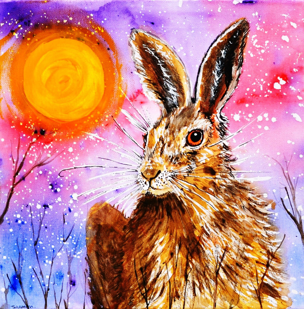 Card (A5), 'Winter hare', an original design card by Trudi Petersen