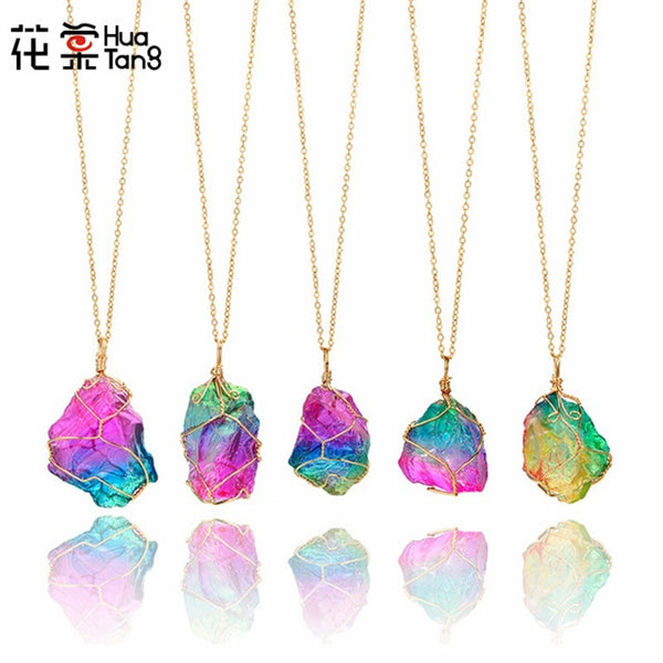 HuaTang Trendy Gold Multicolor Natural Stone Chain Necklace