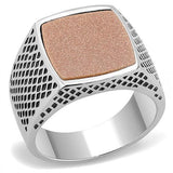High Polished (No Plating) Stainless Steel Ring With Semi-Precious