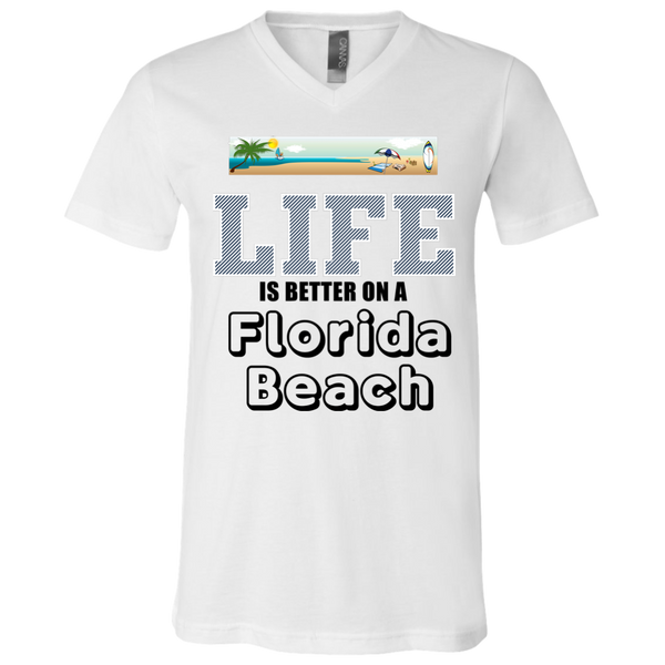"""Florida Beach"" White Unisex Jersey SS V-Neck T-Shirt"