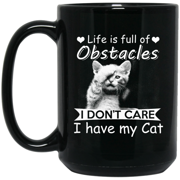 """Obstacles"" 15 oz. Black Mug"