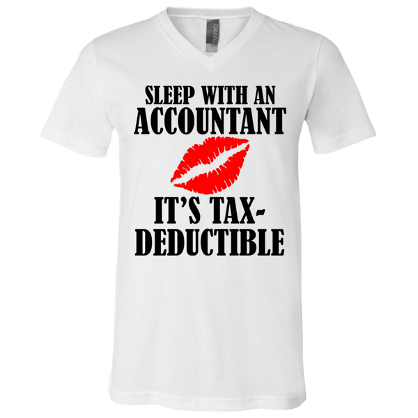 """Tax-Deductible"" Unisex Jersey SS V-Neck T-Shirt"