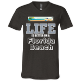 """Florida Beach"" Unisex Jersey SS V-Neck T-Shirt"