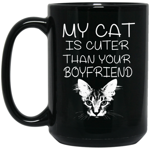 """Cute Cat"" 15 oz. Black Mug"
