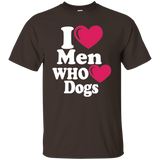 """I Heart Men Who Heart Dogs"" Ultra Cotton T-Shirt Dark"