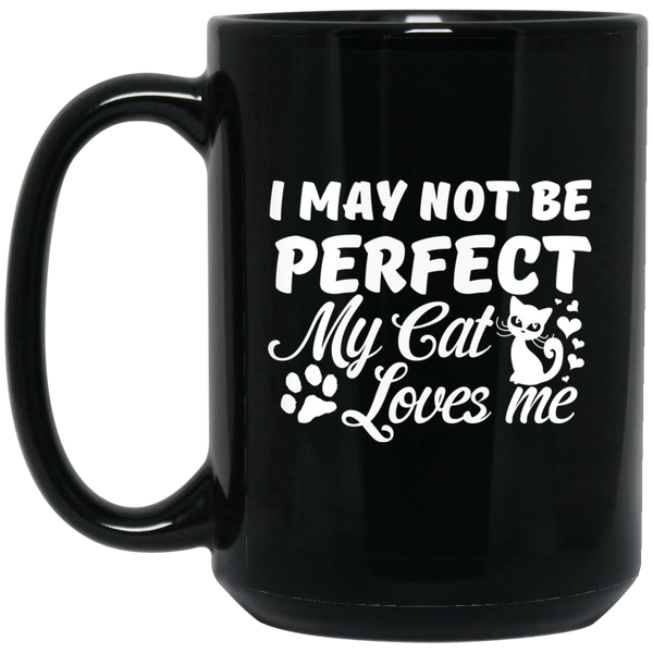 """Cat Loves Me"" 15 oz. Black Mug"
