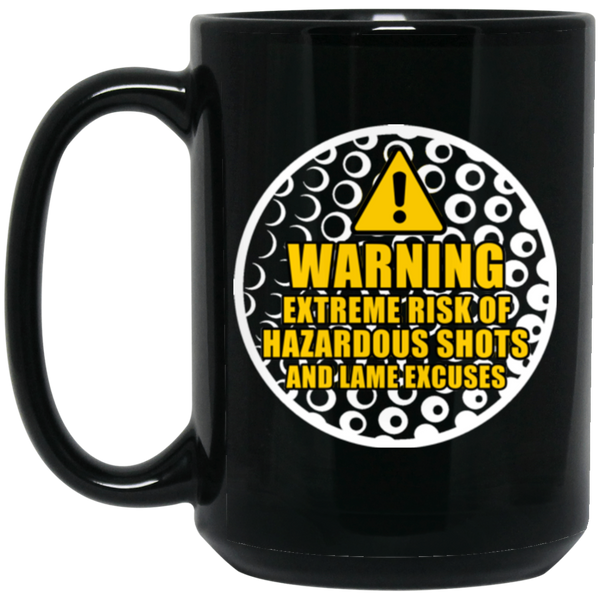 """Golf Warning"" 15 oz. Black Mug"