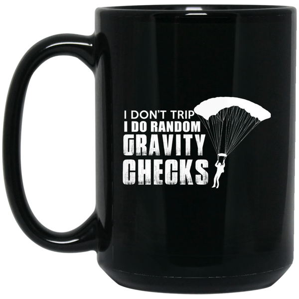 """Gravity Checks"" 15 oz. Black Mug"