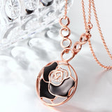 Black Laser Cut Flower Necklace Plated in 18K Rose Gold