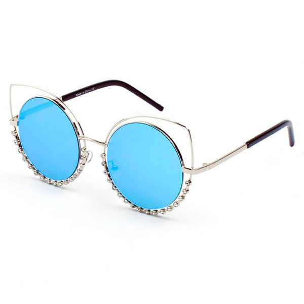 Designer Pearl-Studded Cut-Out Cat Eye Princess Sunglasses