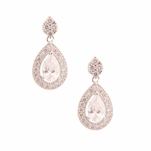 White Gold Cubic Zirconia Teardrop Earrings