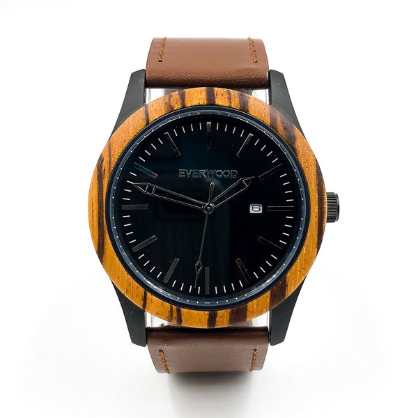 Inverness | Zebrawood | Brown Leather Everwood Watch