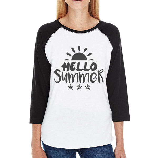 Hello Summer Sun Womens Black and White Baseball Shirt