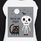 Trick-Or-Treat Skeleton Black Cat Womens Black And White BaseBall Shirt