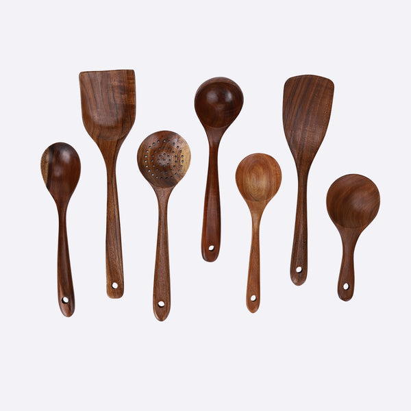 7pcs Thai Teak Kitchen Utensils Set