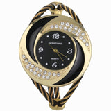 Fashion Ladies Rhinestone Whirlwind Design Steel Weave Dress Wristwatch