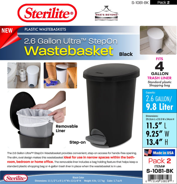#S-1081-BK Sterilite Plastic 2.6 Gallon Ultra StepOn Wastebasket Black (case pack 2 pcs)