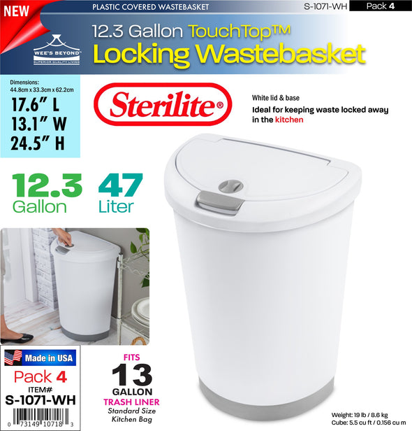 #S-1071-WH Sterilite Plastic 12.3 Gallon Locking TouchTopª Wastebasket- White (case pack 4 pcs)