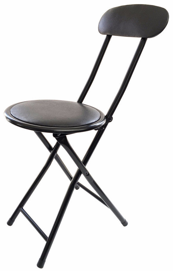 1206 Cushion Top Folding Stool With Back Black Case