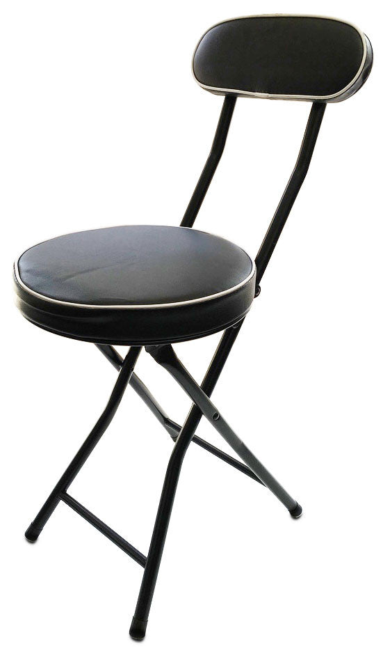 #1209 Thick Cushion Stool with Back - Black (Case pack 6 pcs)