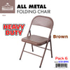 #1231-BRN All Metal Heavy Duty Chair- Brown (Case pack 6 pcs)